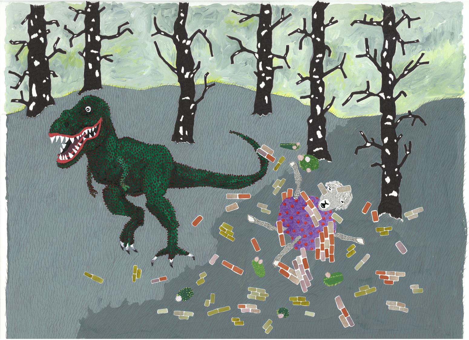 dinosaur knocks down wall unintentionally